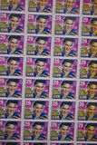 A Sheet of Old Elvis Presley Stamps Stock Image