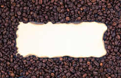 Sheet of old paper on the background of coffee beans Royalty Free Stock Image