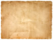 Sheet of old paper isolated on a white background. The sheet of old paper isolated on a white background Stock Photos