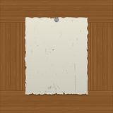 Sheet of the old paper nailed to a wooden wall royalty free illustration