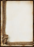 Sheet of old paper with rope Stock Photography