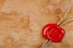 Sheet of old paper with wax seal Royalty Free Stock Images