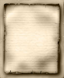 Sheet of old ruled paper. Sheet of old tattered ruled paper stock illustration