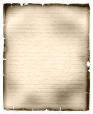 Sheet of old ruled paper. Sheet of old tattered ruled paper isolated on white vector illustration