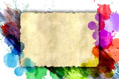 Sheet old torn paper drops splattered watercolor Stock Image