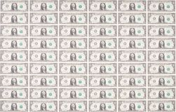 Sheet of One Dollar Bills as Wallpaper Stock Images