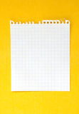 Sheet of paper. Sheet of white lined paper on the yellow background Royalty Free Stock Photography