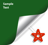 A sheet of paper. Labeled with a curved edge and the star origami Royalty Free Stock Images
