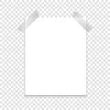 A sheet of paper attached with an adhesive tape with a shadow on a transparent background. Template for your project. Stock Photos