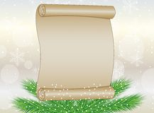 Sheet of paper and branch of christmas tree Royalty Free Stock Photography
