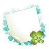 Sheet of paper and clover Royalty Free Stock Image