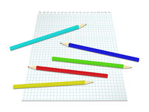Sheet of paper with colored pencils Stock Images