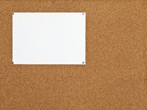 Sheet of paper on cork board Stock Photography