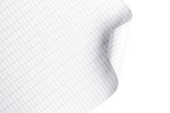 Sheet of paper crooked placed on a white. Background Royalty Free Stock Images