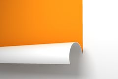 Sheet of paper with the curled corner. 3d rendering Royalty Free Stock Images