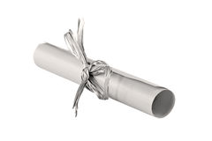 The sheet of paper curtailed into a tubule. Tied up by a tape Royalty Free Stock Image