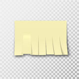 The sheet of paper. Cut by strips on the transparent background. An empty template for declarations, telephone numbers with a shadow. Realistic element of Stock Photography