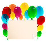 Sheet of paper decorated with balloons Royalty Free Stock Photography