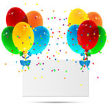Sheet of paper decorated with balloons. On a white background Stock Images