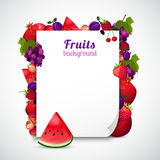 Sheet Of Paper Decorated Fruits Stock Photography