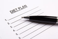 Sheet of paper with diet plan Royalty Free Stock Image