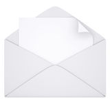 Sheet of paper in an envelope. Isolated render on a white background Royalty Free Stock Image