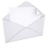 Sheet of paper in an envelope. Isolated render on a white background Stock Image