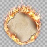 Sheet of paper in flame. EPS 10 Royalty Free Stock Photo