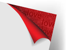 Sheet of paper with flex red corner. With text love Stock Images