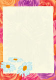 Sheet of paper on a flower background. Stock Photos