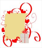 Sheet of paper framed with red hearts and ribbons Royalty Free Stock Images