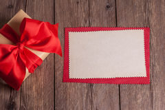 Sheet of paper with gift box Royalty Free Stock Photo