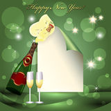 Sheet of paper, glass and two champagne glasses. New Year celebration Royalty Free Stock Image