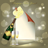 Sheet of paper, glass and two champagne glasses. New Year celebration Royalty Free Stock Photos