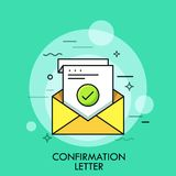 Sheet of paper with green check mark inside envelope. Concept of confirmation, acceptance or approval letter, written. Verification. Colorful vector royalty free illustration