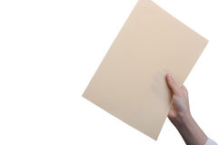 Sheet of Paper in hand. On a white background Stock Image