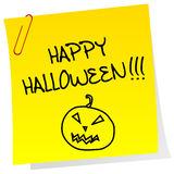 Sheet of paper with Happy Halloween message Stock Photo