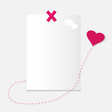 The Sheet of paper and heart. Royalty Free Stock Photo