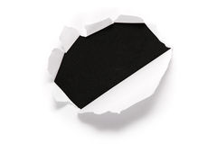 Sheet of paper with the hole Royalty Free Stock Photo