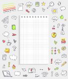 Sheet of Paper with Icons on Vector Illustration. Sheet of paper with icons around it representing different marks and images of food and gadgets on vector Stock Photo