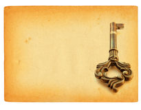 Sheet of paper with key motif. Old sheet of paper with key motif, isolated on pure white background stock photos