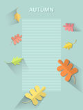 A sheet of paper in line. A sheet of paper with autumn leaves Royalty Free Stock Image
