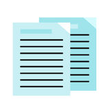 Sheet Paper with List. Sheet blue paper with list. List icon. Flyer icon. Leaflet icon. Business documents element. Design element, sign, symbol, icon in flat Royalty Free Stock Photos
