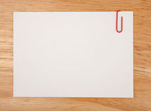 Sheet of paper for notes and clip Royalty Free Stock Photo