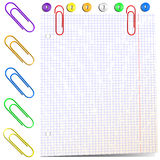 Sheet of paper with paper clips Stock Image