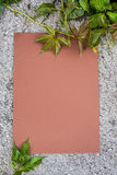 Sheet of paper on the pavement. Surrounded foliage Royalty Free Stock Photos