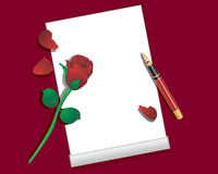 Sheet of paper, pen and red rose. Stock Photo