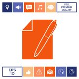 Sheet of paper and pen symbol icon. Signs and symbols - graphic elements for your design Royalty Free Stock Image