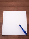 A sheet of paper and pen Royalty Free Stock Image