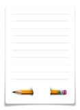 Sheet of paper with pencil isolated on white.  Royalty Free Stock Images